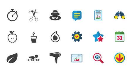 スパ、美容のためのアイコン。スイミング プールの標識です。水滴、はさみ、ドライヤーのシンボル。カレンダー、レポートおよびダウンロードの  イラスト・ベクター素材