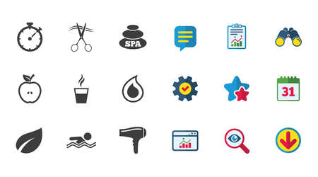 Spa, hairdressing icons. Swimming pool sign. Water drop, scissors and hairdryer symbols. Calendar, Report and Download signs. Stars, Service and Search icons. Statistics, Binoculars and Chat. Vector