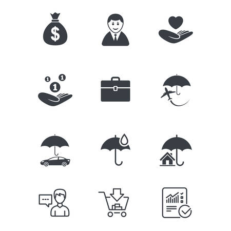 Insurance icons. Life, Real estate and House signs. Saving money, vehicle and umbrella symbols. Customer service, Shopping cart and Report line signs. Online shopping and Statistics. Vector