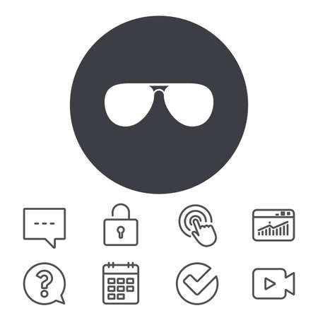 Aviator sunglasses sign icon. Pilot glasses button. Calendar, Locker and Speech bubble line signs. Video camera, Statistics and Question icons. Vector Illustration