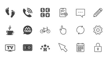 Hotel, apartment services icons. Coffee sign. Phone call, kid-friendly and safe strongbox symbols. Chat, Report and Calendar line signs. Service, Pencil and Locker icons. Click, Rotation and Cursor Illustration