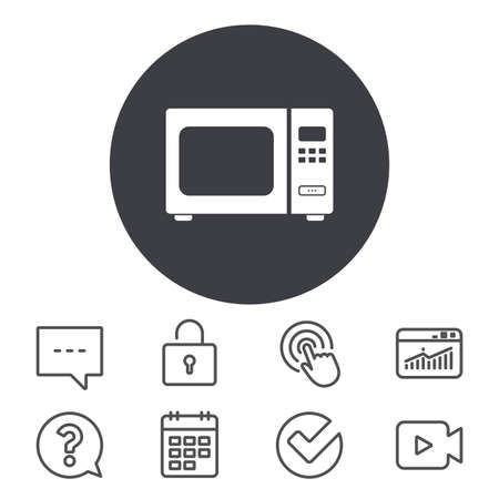 전자 레인지 기호 아이콘입니다. 주방 전기 스토브 기호입니다. 달력, 로커 및 연설 거품 기호입니다. 비디오 카메라, 통계 및 질문 아이콘. 벡터