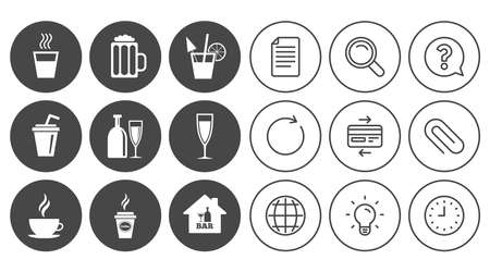 Cocktail, beer icons. Coffee and tea drinks. Soft and alcohol drinks symbols. Document, Globe and Clock line signs. Lamp, Magnifier and Paper clip icons. Question, Credit card and Refresh. Vector 向量圖像