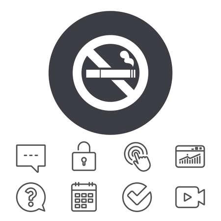 Niet roken teken pictogram. Sigaret symbool. Agenda, Locker en Speech bubble lijntekens. Videocamera, statistieken en vraagpictogrammen. Vector