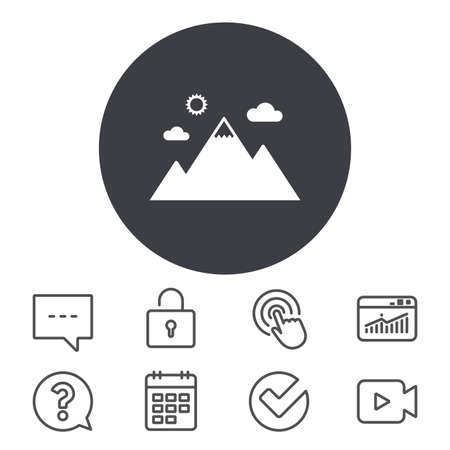 Mountain icon. Mountaineering sport sign. Leadership motivation concept. Calendar, Locker and Speech bubble line signs. Video camera, Statistics and Question icons. Vector