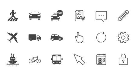 Transport icons. Car, bike, bus and taxi signs. Shipping delivery, pedestrian crossing symbols. Chat, Report and Calendar line signs. Service, Pencil and Locker icons. Click, Rotation and Cursor