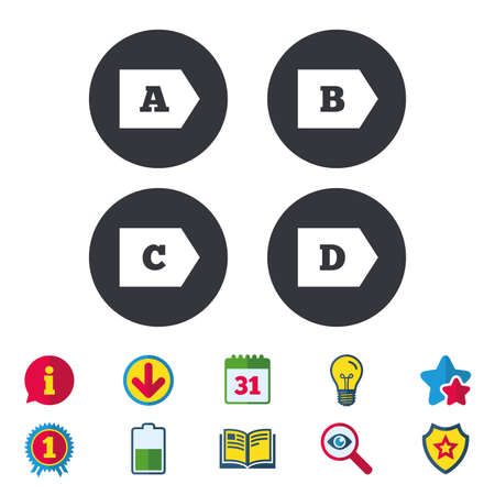 Energy efficiency class icons. Energy consumption sign symbols. Class A, B, C and D. Calendar, Information and Download signs. Stars, Award and Book icons. Light bulb, Shield and Search. Vector