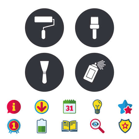 Paint roller, brush icons. Spray can and Spatula signs. Wall repair tool and painting symbol. Calendar, Information and Download signs. Stars, Award and Book icons. Light bulb, Shield and Search Illustration