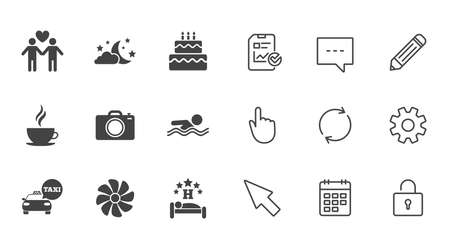 Hotel, apartment service icons. Swimming pool. Ventilation, birthday party and gay-friendly symbols. Chat, Report and Calendar line signs. Service, Pencil and Locker icons. Click, Rotation and Cursor
