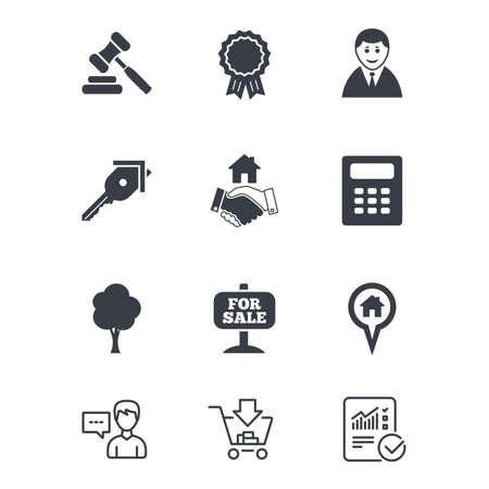 Onroerend goed, veilingpictogrammen. Handdruk, te koop en calculatorborden. Sleutel, boom en prijs medaille symbolen. Klantenservice, winkelwagen en rapportregels. Online winkelen en statistieken. Vector