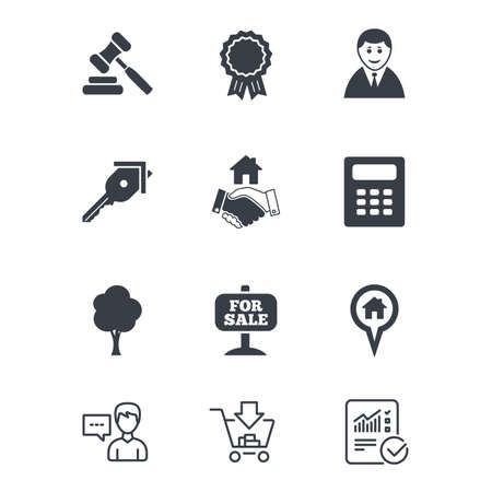 Real estate, auction icons. Handshake, for sale and calculator signs. Key, tree and award medal symbols. Customer service, Shopping cart and Report line signs. Online shopping and Statistics. Vector Illustration