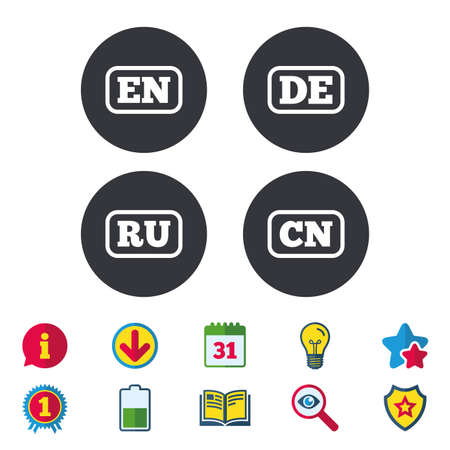 Language icons. EN, DE, RU and CN translation symbols. English, German, Russian and Chinese languages. Calendar, Information and Download signs. Stars, Award and Book icons. Vector