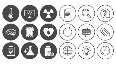 의학, 의료 건강 및 진단 아이콘입니다. 혈액 기부, 온도계 및 환 약 기호. 치아, 신경 기호입니다. 문서, 글로브 및 시계 라인 기호입니다. 램프, 돋보기