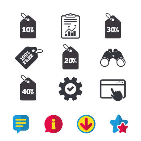 thirty percent off: Sale price tag icons. Discount special offer symbols. 10%, 20%, 30% and 40% percent discount signs. Browser window, Report and Service signs. Binoculars, Information and Download icons. Stars and Chat