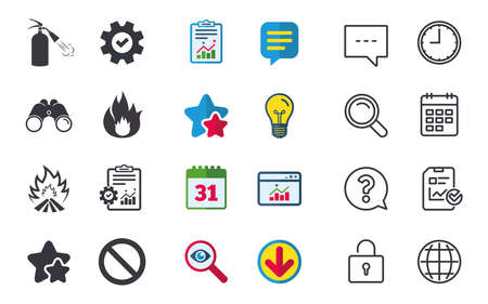 Fire flame icons. Fire extinguisher sign. Prohibition stop symbol. Chat, Report and Calendar signs. Stars, Statistics and Download icons. Question, Clock and Globe. Vector