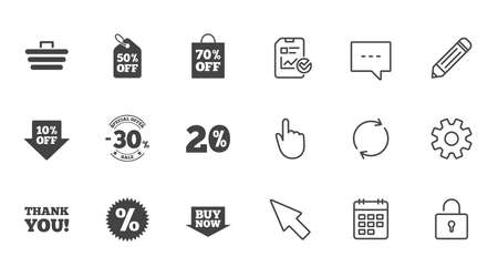 Sale discounts icon. Shopping cart, coupon and buy now signs. 20, 30 and 50 percent off. Special offer symbols. Chat, Report and Calendar line signs. Service, Pencil and Locker icons. Vector Illustration