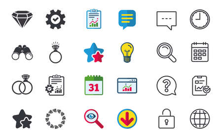 Rings icons. Jewelry with shine diamond signs. Wedding or engagement symbols. Chat, Report and Calendar signs. Stars, Statistics and Download icons. Question, Clock and Globe. Vector