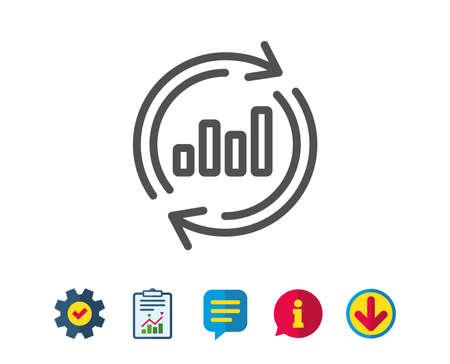 グラフの線のアイコン。レポート グラフまたは売上成長の記号を更新します。分析と統計データのシンボル。レポート、サービスおよび情報行の標  イラスト・ベクター素材