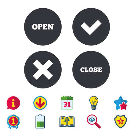 Open and Close icons. Check or Tick. Delete remove signs. Yes correct and cancel symbol. Calendar, Information and Download signs. Stars, Award and Book icons. Light bulb, Shield and Search. Vector