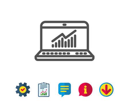 데이터 분석 및 통계 라인 아이콘. 그래프 또는 차트 기호를보고하십시오. 컴퓨터 데이터 처리 기호입니다. 보고, 서비스 및 정보 라인 표지판. 다운로