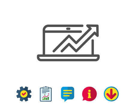 Data Analysis and Statistics line icon. Report graph or Chart sign. Computer data processing symbol. Report, Service and Information line signs. Download, Speech bubble icons. Editable stroke. Vector