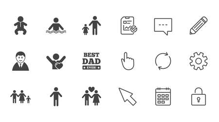 People, family icons. Swimming pool, love and children signs. Best dad, father and mother symbols. Chat, Report and Calendar line signs. Service, Pencil and Locker icons. Click, Rotation and Cursor