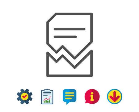 Icono de línea de documento dañado. Bad File sign. Símbolo de concepto de página de papel. Señales de línea de informe, servicio e información. Descargar, iconos de burbujas de discurso. Trazo editable Vector Foto de archivo - 81843775