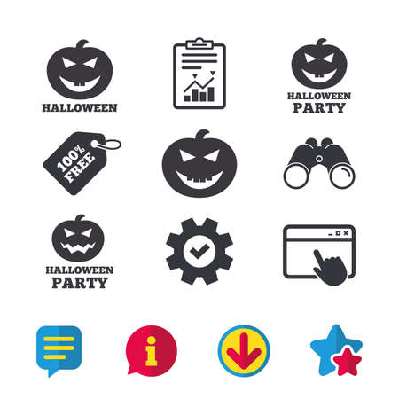 Halloween pumpkin icons. Halloween party sign symbol. All Hallows Day celebration. Browser window, Report and Service signs. Binoculars, Information and Download icons. Stars and Chat. Vector Illustration
