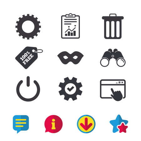 theatre masks: Anonymous mask and cogwheel gear icons. Recycle bin delete and power sign symbols. Browser window, Report and Service signs. Binoculars, Information and Download icons. Stars and Chat. Vector