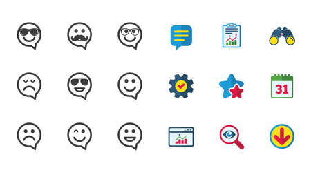 Smile speech bubbles icons. Happy, sad and wink faces signs. Sunglasses, mustache and laughing lol smiley symbols. Calendar, Report and Download signs. Stars, Service and Search icons. Vector