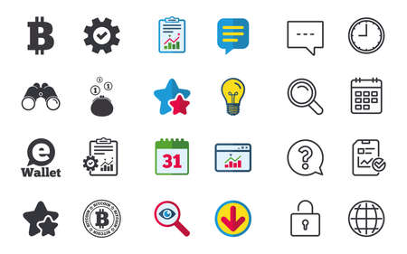 Bitcoin icons. Electronic wallet sign. Cash money symbol. Chat, Report and Calendar signs. Stars, Statistics and Download icons. Question, Clock and Globe. Vector Illustration
