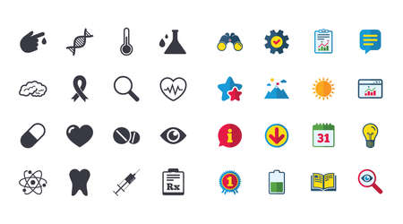 Set of Healthcare, Medicine and Diagnosis icons. Tooth, Pills and Syringe signs. Brain, Blood test and Thermometer symbols. Calendar, Report and Browser window signs. Stars, Service and Download icons