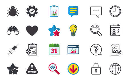 Bug and vaccine syringe injection icons  Heart and caution with exclamation sign symbols. Chat, Report and Calendar signs. Stars, Statistics and Download icons. Question, Clock and Globe. Vector Illustration