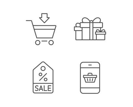 Icone di scatola regalo, sconto e vendita. Simbolo del carrello. Acquisto online Elementi di design di qualità. Colpo modificabile. Vettore Archivio Fotografico - 81862412