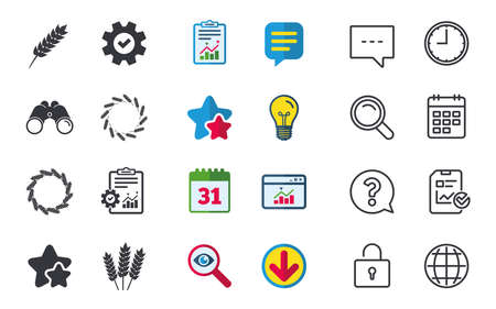 Agricultural icons. Gluten free or No gluten signs. Wreath of Wheat corn symbol. Chat, Report and Calendar signs. Stars, Statistics and Download icons. Question, Clock and Globe. Vector