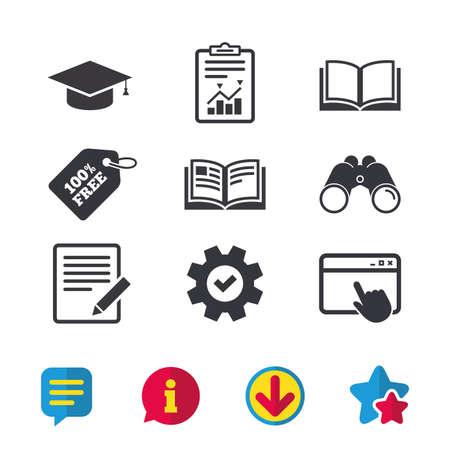 ドキュメントと鉛筆、本のアイコンを開きます。卒業キャップ記号です。高等教育は、標識を学ぶ。ブラウザー ウィンドウ、レポートとサービスの  イラスト・ベクター素材