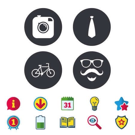 Hipster photo camera. Mustache with beard icon. Glasses and tie symbols. Bicycle sign. Calendar, Information and Download signs. Stars, Award and Book icons. Light bulb, Shield and Search. Vector Illustration