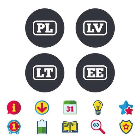 언어 아이콘. PL, LV, LT 및 EE 번역 기호. 폴란드, 라트비아, 리투아니아 및 에스토니아 언어. 달력, 정보 및 다운로드 표지판. 별, 수상 및 책 아이콘. 벡터