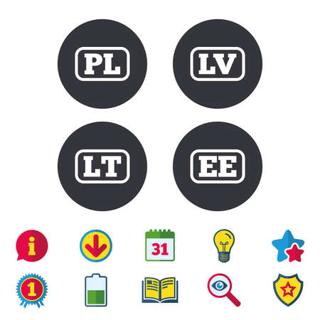 Language icons. PL, LV, LT and EE translation symbols. Poland, Latvia, Lithuania and Estonia languages. Calendar, Information and Download signs. Stars, Award and Book icons. Vector