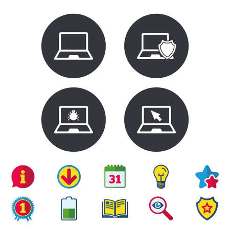 Notebook laptop pc icons. Virus or software bug signs. Shield protection symbol. Mouse cursor pointer. Calendar, Information and Download signs. Stars, Award and Book icons. Vector Illustration