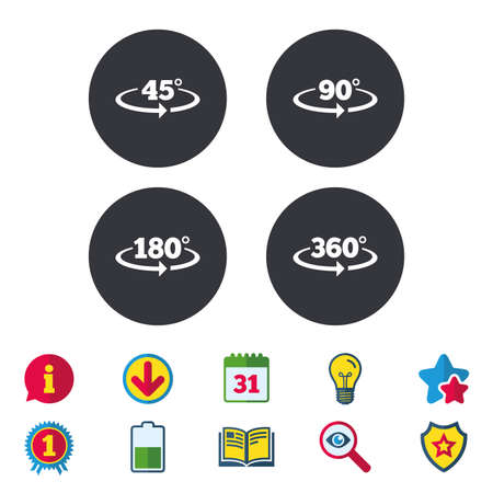 Angle 45-360 degrees icons. Geometry math signs symbols. Full complete rotation arrow. Calendar, Information and Download signs. Stars, Award and Book icons. Light bulb, Shield and Search. Vector
