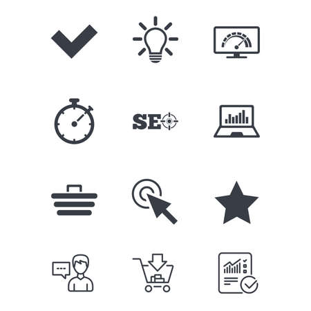 Internet, seo icons. Bandwidth speed, online shopping and tick signs. Favorite star, notebook chart symbols. Customer service, Shopping cart and Report line signs. Online shopping and Statistics Illusztráció