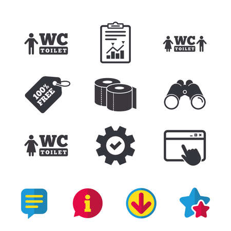 Toilet paper icons. Gents and ladies room signs. Man and woman symbols. Browser window, Report and Service signs. Binoculars, Information and Download icons. Stars and Chat. Vector Illustration