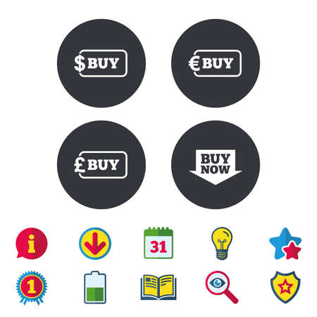 Buy now arrow icon. Online shopping signs. Dollar, euro and pound money currency symbols. Calendar, Information and Download signs. Stars, Award and Book icons. Light bulb, Shield and Search. Vector Stock Vector - 82181428