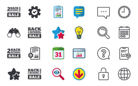 Back to school sale icons. Studies after the holidays signs. Pencil symbol. Chat, Report and Calendar signs. Stars, Statistics and Download icons. Question, Clock and Globe. Vector