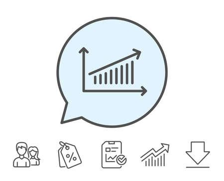 グラフの線のアイコン。グラフまたは売上成長の兆候を報告します。分析と統計データのシンボル。レポート、販売クーポン、グラフ線の標識。ダ