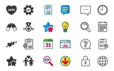 Valentine day love icons. I love you ring symbol. Couple lovers sign. Chat, Report and Calendar signs. Stars, Statistics and Download icons. Question, Clock and Globe. Vector Illustration