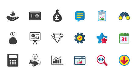 strongbox: Money, cash and finance icons. Handshake, safe and calculator signs. Chart, safe and jewelry symbols. Calendar, Report and Download signs. Stars, Service and Search icons. Vector