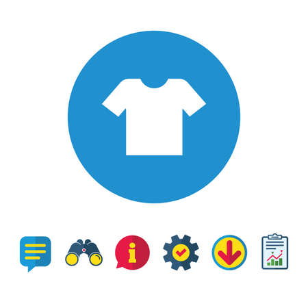 T-shirt sign icon. Clothes symbol. Information, Report and Speech bubble signs. Binoculars, Service and Download icons. Vector