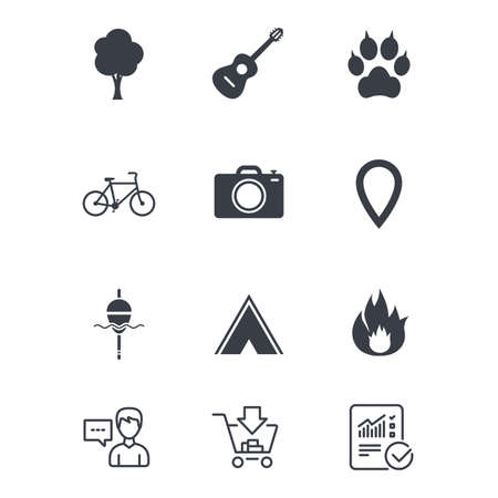 Tourism, camping icons. Fishing, fire and bike signs. Guitar music, photo camera and paw with clutches. Customer service, Shopping cart and Report line signs. Online shopping and Statistics. Vector Ilustrace